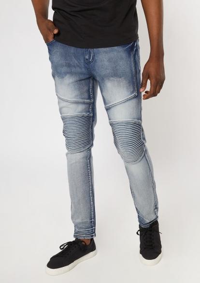 medium wash faded moto skinny jeans - Main Image