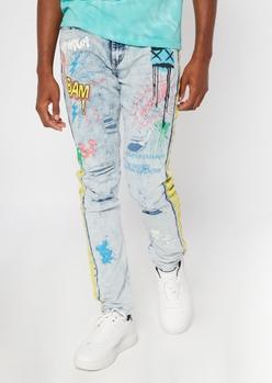 light wash graffiti print skinny arc jeans - Main Image