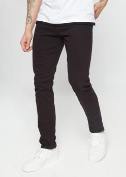flex black twill skinny jeans - Main Image