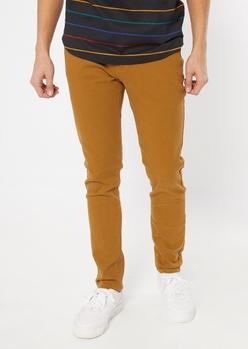 flex camel skinny twill pants - Main Image