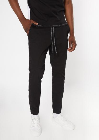 black tech pocket twill skinny joggers - Main Image