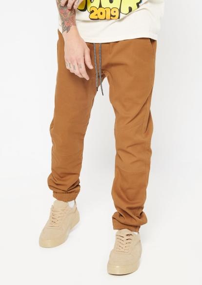 camel twill jogger zip pocket pants - Main Image