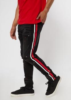 black splatter paint side stripe jeans - Main Image