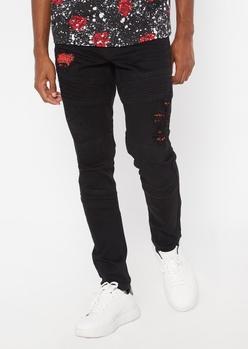 black bandana print rip and repair moto skinny jeans - Main Image