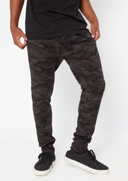 black camo ripstop utility track pants - Main Image