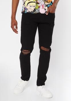 supreme flex black blown knee skinny jeans - Main Image