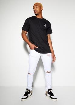 supreme flex white blown knee skinny jeans - Main Image
