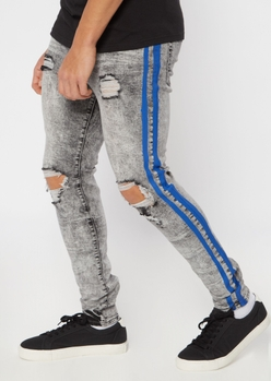 gray acid wash side striped ripped skinny jeans - Main Image
