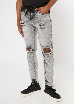 gray acid wash ripped knee skinny pants - Main Image