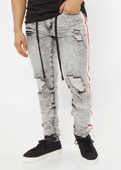 gray acid wash side striped jogger jeans - Main Image