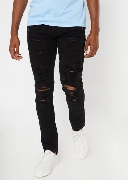 supreme flex black distressed moto skinny jeans - Main Image