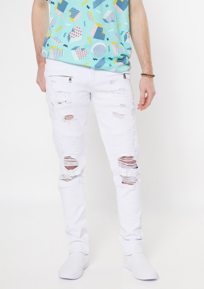 supreme flex white moto distressed skinny jeans - Main Image