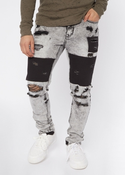 gray distressed patch skinny jeans - Main Image