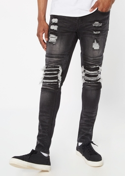 black faded ripped repaired skinny jeans - Main Image