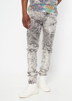 gray acid wash ripped moto stacked skinny pants - Main Image