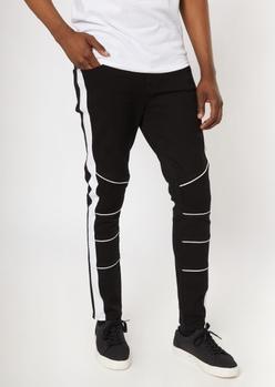 black side striped moto skinny pants - Main Image
