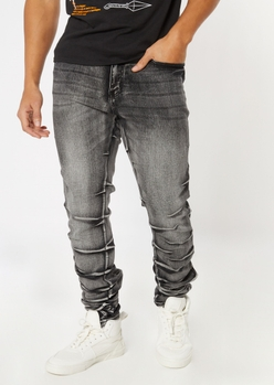 gray stacked crease wash stretch skinny jeans - Main Image