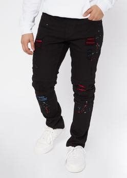 black rip repair splatter paint skinny jeans - Main Image
