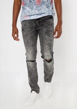 black acid wash ripped knee skinny jeans - Main Image