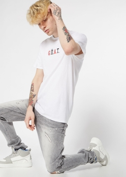 gray ripped knee skinny jeans - Main Image