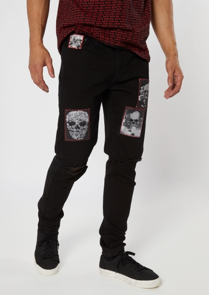 black blown knee skull patch jeans - Main Image