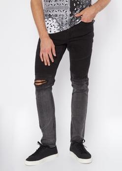 black ombre moto jeans - Main Image
