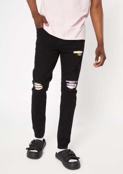 black tie dye patch rip repair skinny jeans - Main Image