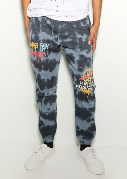 gray tie dye thanks for nothing graphic joggers - Main Image