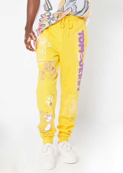 yellow tom and jerry graphic joggers - Main Image