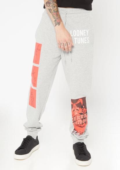 gray looney tunes graphic joggers - Main Image