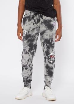 black tie dye doodle print joggers - Main Image