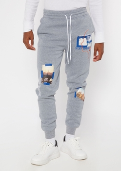 heather gray travel printed patch joggers - Main Image