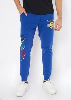 royal blue smiley graphic joggers - Main Image