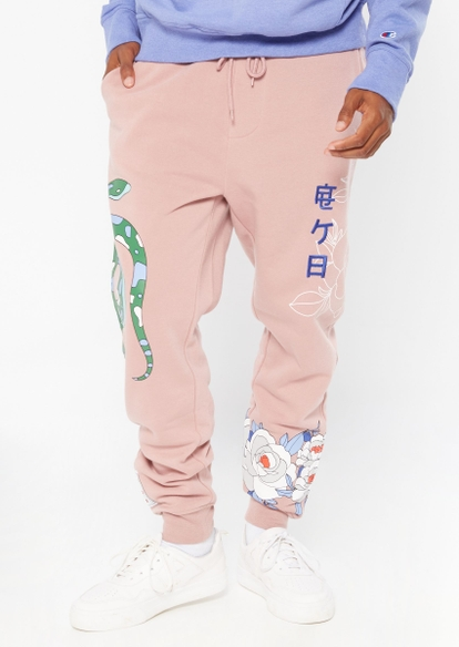 light pink snake rose graphic joggers - Main Image