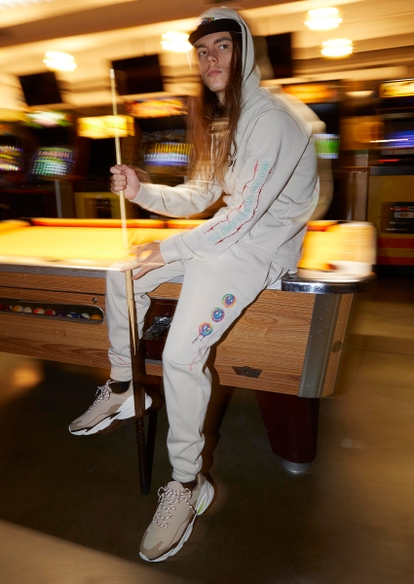 taupe tie dye smiley face changes graphic joggers - Main Image