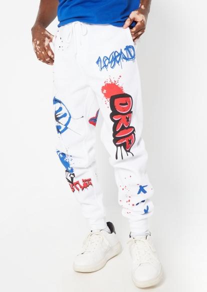 white graffiti drip graphic joggers - Main Image