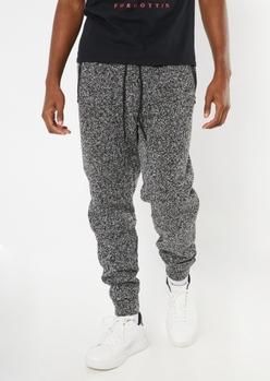 black marled cozy knit joggers - Main Image