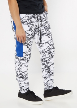 white marble side striped sherpa lined joggers - Main Image
