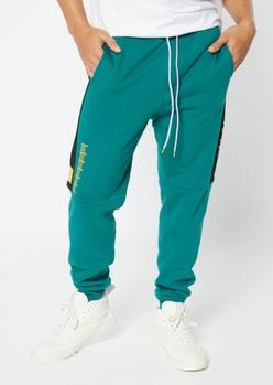 dark green fleece lined territory graphic joggers - Main Image