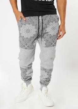 heather gray bandana colorblock joggers - Main Image