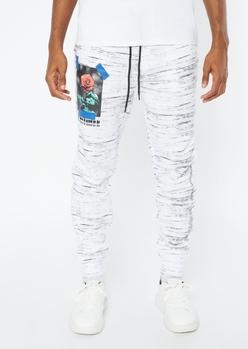white space dye rose print joggers - Main Image