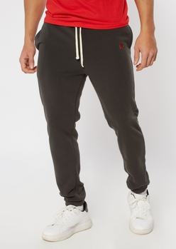 washed black rose embroidered sweatpants - Main Image