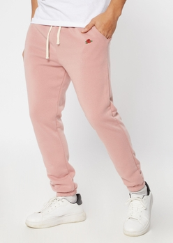 pink rose embroidered sweatpants - Main Image
