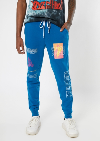 royal blue blessed graphic joggers - Main Image