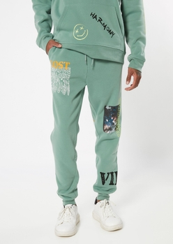 sage green lost paradise graphic joggers - Main Image