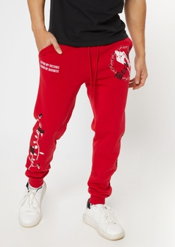 red back off print joggers - Main Image