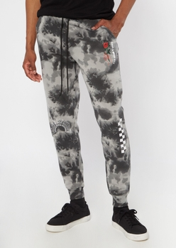 black tie dye have a nice day joggers - Main Image