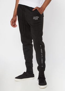 black social distancing club joggers - Main Image