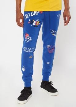 royal blue doodle print joggers - Main Image