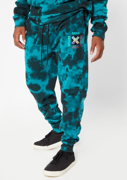 teal tie dye soul mind embroidered joggers - Main Image